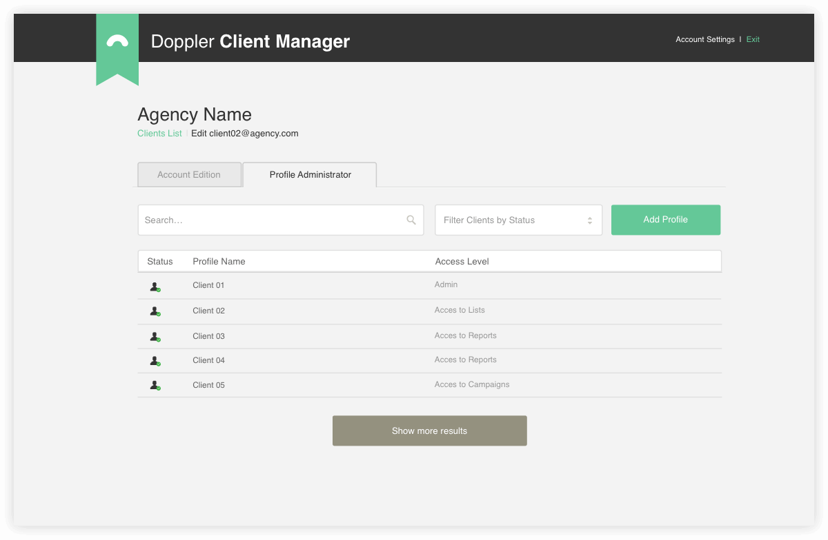 Doppler Client Manager: levels of access by client