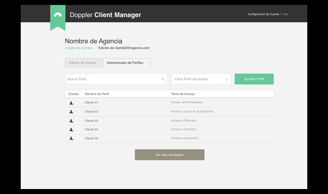 Client Manager de Doppler: niveles de acceso por cliente